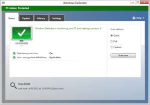 Windows Defender vo Windows 8 vyzerá podobne ako Microsoft Security Essentials