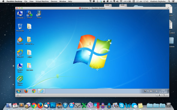 Parallels s Windows 7 pod Mac OS  X 10.8.5